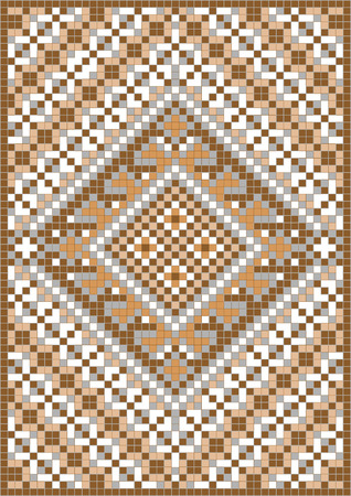 knitted background: Variegate geometric pattern for carpet. Background Illustration