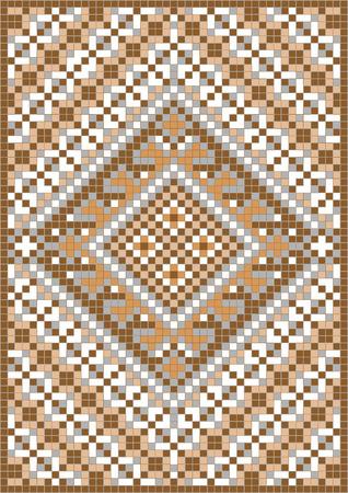 knitted fabrics: Variegate geometric pattern for carpet. Background Illustration