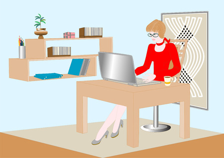 subdue: Businesswoman communicating via the Internet. Illustration.