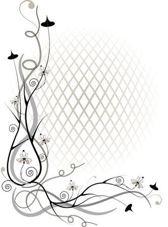 Corner twig and flower  of by volume grid.Illustration.