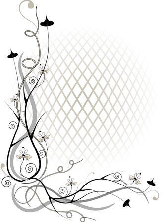 esquineros de flores: Ramita de esquina y flor de por grid.Illustration de volumen.