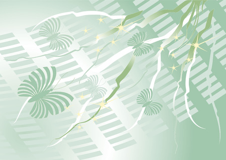 fascia: Green background with  butterfly. Background.Wallpaper Illustration