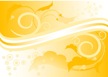 Yellow background with leaves and colour arrows. Banner. Background. Wallpaper.  Illustration