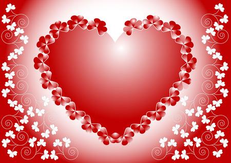 declaracion de amor: Coraz�n rojo sobre un fondo con flores de declaraci�n de amor. Postal, .Wallpaper de fondo.  Vectores