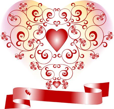 declaracion de amor: Coraz�n sobre un fondo con la declaraci�n de flores de amor. Postal, fondo.