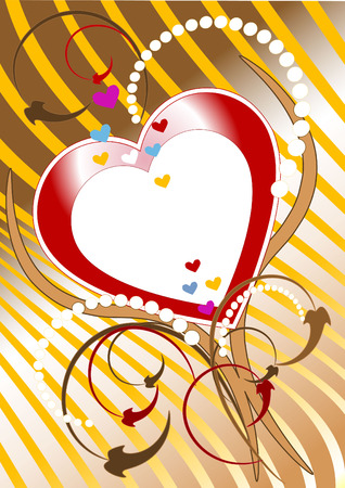 Red heart on a background of golden rays.  Postcard, Background .Wallpaper. Ilustrace