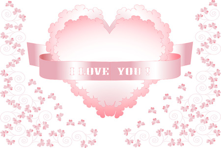 Pink heart on a background with flowers declaration of love.  Postcard, Background .
