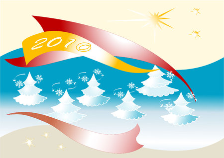 Happy New Year on the background of fir trees and snowflakes. Postcard. Vector
