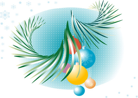 Spruce branches with New Year's decorations.  Background.Postcard. Wallpaper.  Stock Vector - 7059374