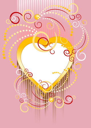 Heart on a pink background framed by ornamentation of the curves. Banner.Postcard.  Stock Vector - 7113187