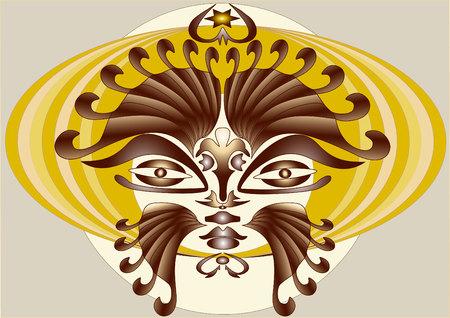 devil ray: Abstract mask devil banner composition.Mask. Banner. Illustration
