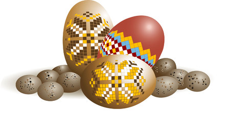 Painted Easter eggs and quail eggs. Wallpaper. Background. Stock Vector - 7129723