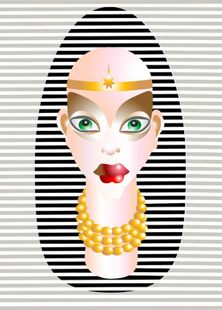 back belt: Abstract color  Label  beautiful  face with  make-up.Illustration. Illustration