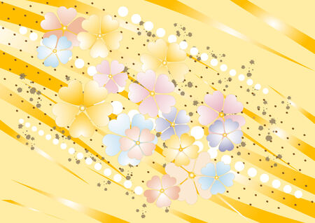 brownish: Abstract yellow nuance background with  painted  flower. Background. Wallpaper.