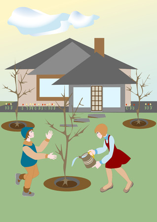 came: Spring came and the children plant trees and watered. Illustration.