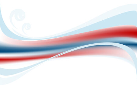 Blue  and  red wave on white background. Banner.  Illustration