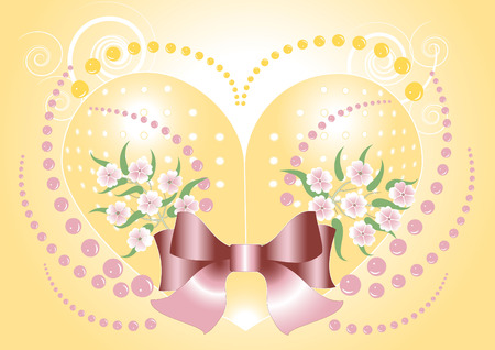 Background with heart for congratulation.Banner.Postcard. Vector