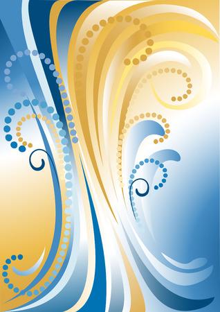 oscillation: En azul con rayas amarillas fondo con beads.Background.Banner.  Vectores