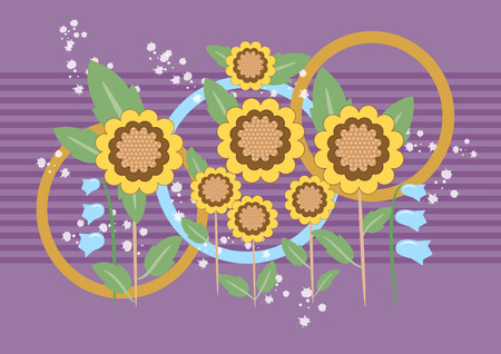 Sunflower with purple background.Background.Wallpaper. Vector