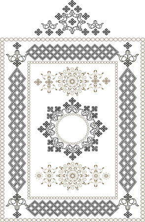 Decorative frame, border of oriental ornament.Graphic arts.