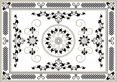 Decorative frame of oriental pattern.Graphic arts Illustration