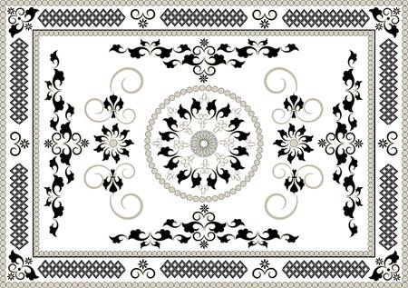Decorative frame of oriental pattern.Graphic arts Illustration