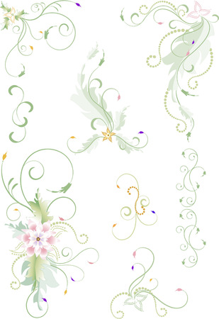 Delicate graphics of frame and corner  with  flower. Graphic drawing.