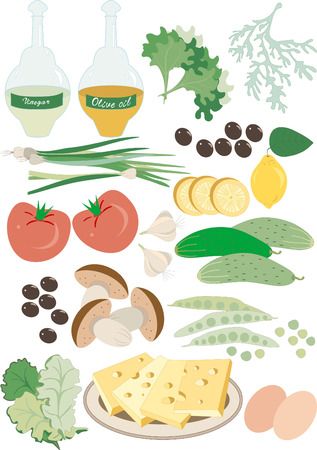 A set of fresh vegetables and cheese for a summer salad.Illustration.