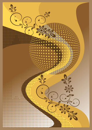 Yellow banner with the flowers. Banner.Wallpaper. Background. Stock Vector - 7851372
