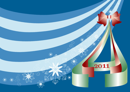 Christmas tree with snowflakes and a red ribbon on a blue background.Background.Wallpaper. Vector