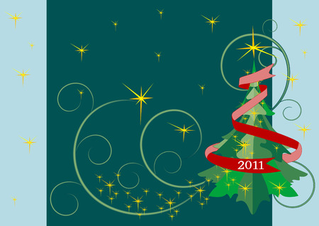 Christmas tree and garlands of stars.Background.Card.