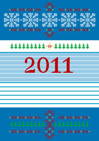 Abstract Christmas card with ornaments on a blue background. Postcard. Vector