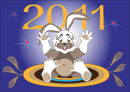 Begins a New Year-Year Hare.Illustration.Background Stock Vector - 8292256