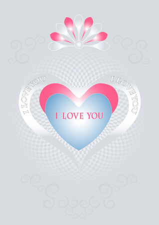 compliments: I love you. Valentines Day. Postcard. Background
