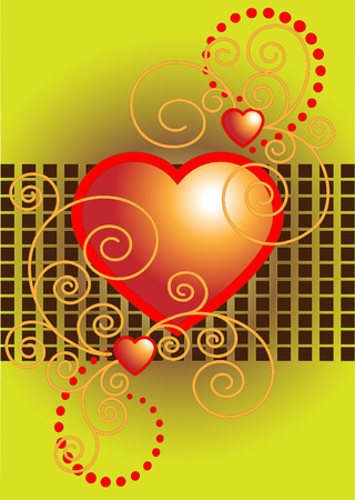 Red heart decorated with curves.Postcard.Background. Illustration