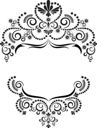 Dark ornamental frame on a white background. Graphic arts. Illustration