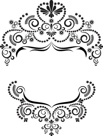 creative arts: Dark ornamental frame on a white background. Graphic arts. Illustration