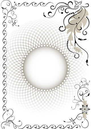 Decorative frame on the background volume grid.Graphic drawing. Vector