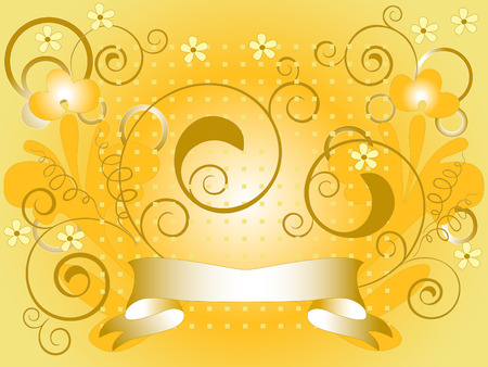 brownish: Yellow  background with flowers. Background. Wallpaper. Illustration