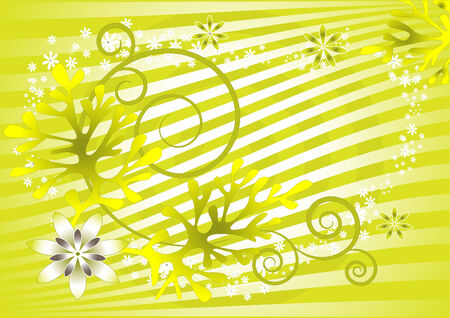 Flowers and leafy plant with a light-green background. Background. Wallpaper. Vector