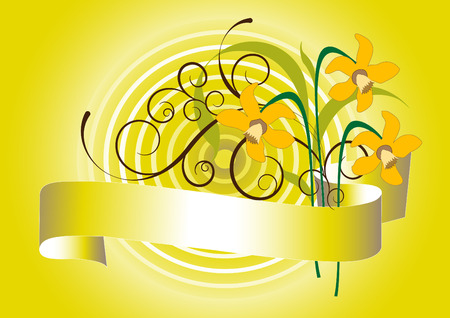 Spring bouquet of daffodils on a yellow background. Stock Vector - 9078620