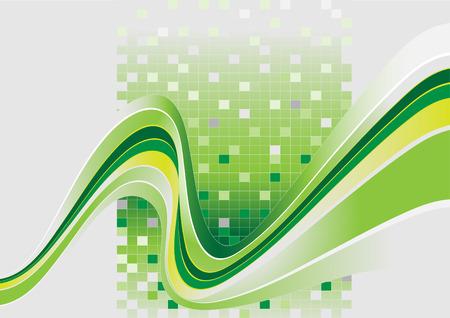 rippled: Bande ondulate con una tinta verde.Banner.background. carta da parati. Vettoriali
