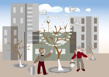 Spring, the birds flew, children caring for trees. Illustrations. Vector