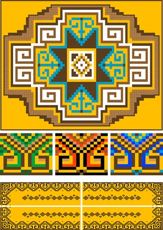 The pattern for the carpet and the ornamental details for the frame Stock Vector - 9263006