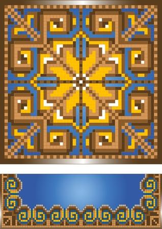 Ornament for the blue carpet.Pattern.Illustration. Stock Vector - 9277725