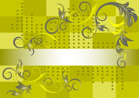 The pattern of rounded leaves on a green background. Banner. Vector