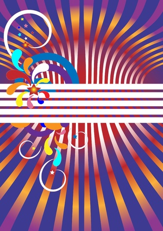 A banner with the colorful  and stars, curves, circles.  Background. Vector