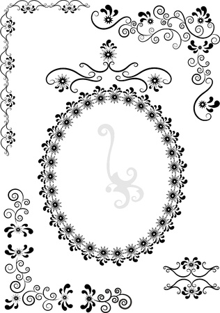 Decorative frame and corners on a white background. Graphic drawing.