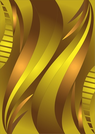 Golden wavy stripes in bright brown background.Banner.Background. Stock Vector - 9373504
