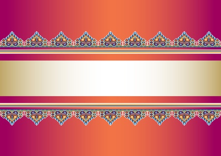 Frame with vintage ornaments on red background.Background. Stock Vector - 9447993